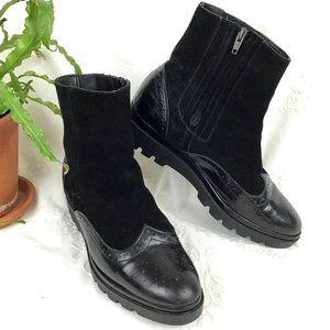 Black Patent and Suede Wingtip Ankle Boot 9